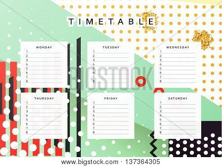 Planner calendar. Schedule the week, abstract design background. Template info organizer. Blank schedule school. Layout sheet planning