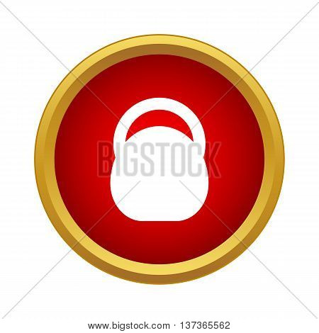 Athletic professional weight icon in simple style in red circle. Sport symbol