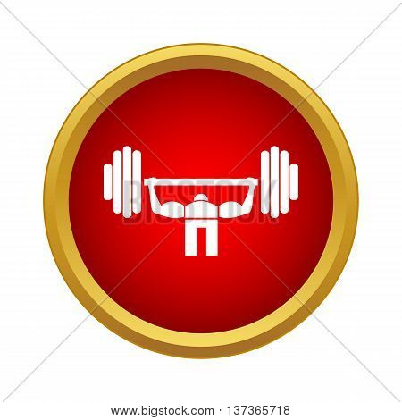 Weightlifter icon in simple style in red circle. Sport symbol