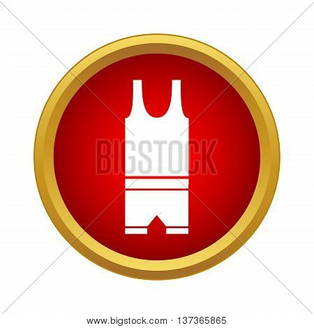 Shorts and tank top icon in simple style in red circle. Clothing symbol