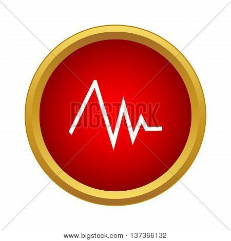 Heart rate icon in simple style in red circle. Medical symbol