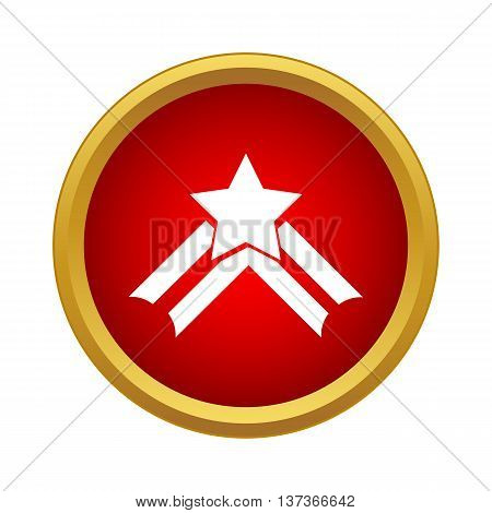 Star with ribbon icon in simple style in red circle. Decoration symbol