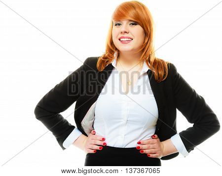Portrait of beauty redhair smiling business woman or student girl. Isolated on white background