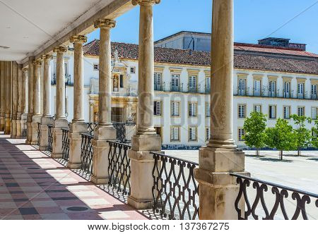Coimbra, Portugal - June 21, 2016. Gallery of Paco das Escolas courtyard of the Coimbra University. Portugal.