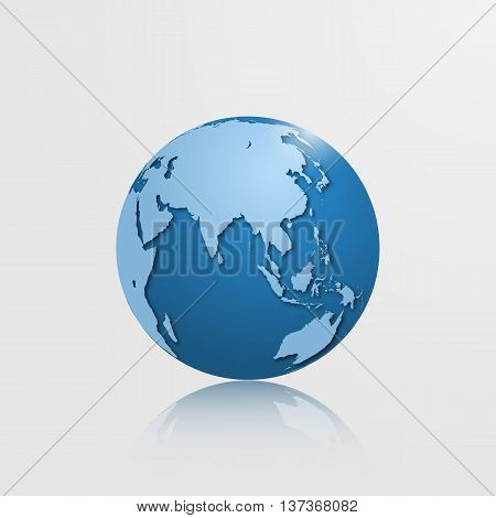 High detailed vector globe with Eurasia and Oceania. Vector illustration.