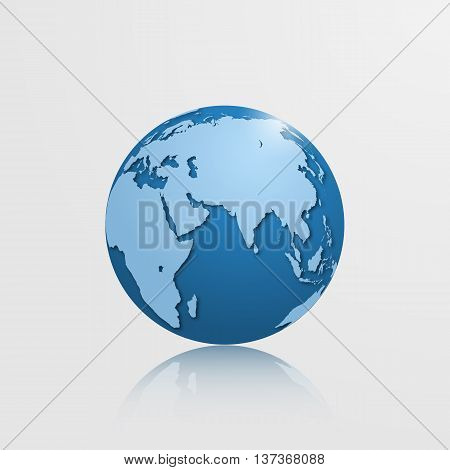 High detailed vector globe with Eurasia Oceania and Africa. Vector illustration.