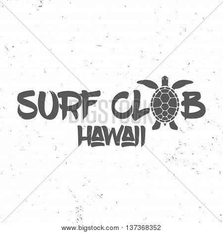 Surf Club Concept. Vector Summer Surfing Retro Badge. Surfer Club Emblem, Outdoors Banner, Vintage B