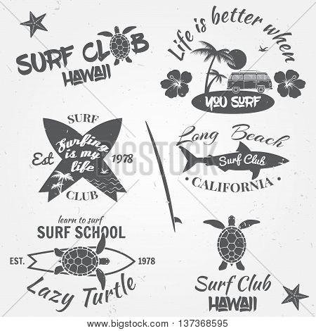 Set Of Retro Vintage Badges And Labels. Vintage Surf Club Elements. Vector Retro Surf Club Labels, B