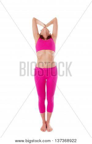 Woman Hasta Uttanasana, Raised Arms Yoga Pose. Front View.