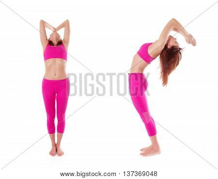 Woman Hasta Uttanasana, Raised Arms Yoga Pose. Front, Side View.