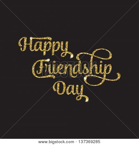 Golden Glittering Text Happy Friendship Day On Black Background. For Greeting Card, Poster, Flyer, B