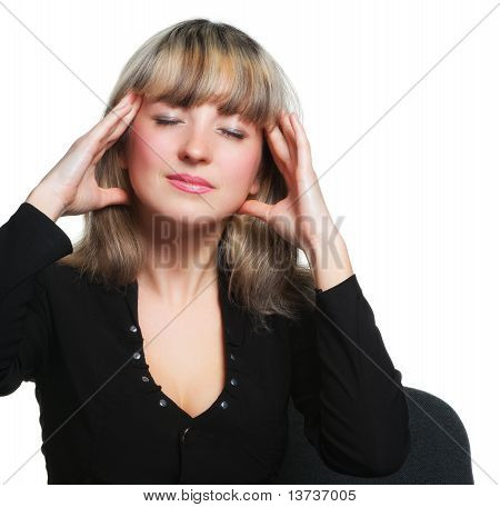 Headache. The Business Woman On The Workplace Tired Of Work