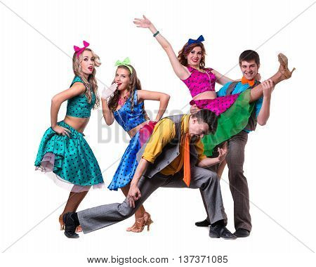 Cabaret dancer team dancing. Retro fashion style, isolated on white background in full length.