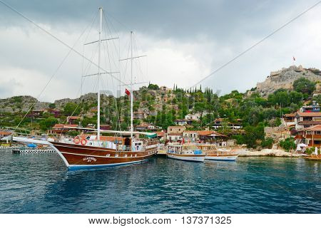 Mediterranean Sea, Turkey - May, 2013: Tourist sailing ships in the small port of the Aegean Sea. Editorial.