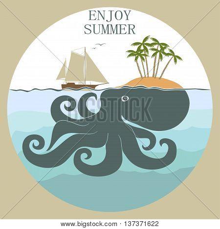 Octopus island, enloy summer - Sea life poster. Nautical marine elements. Vector