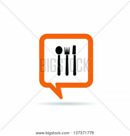 Square Orange Speech Bubble With Cutlery Icon Illustration