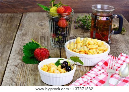 Cornflakes with Strawberry. Healthy Breakfast Studio Photo