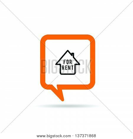 Square Orange Speech Bubble With House Rent Icon Illustration