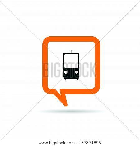 Square Orange Speech Bubble With Tram Icon Illustration