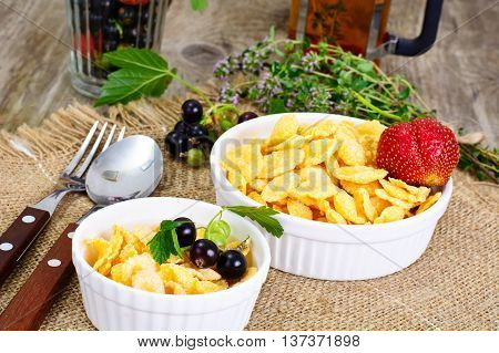 Cornflakes with Strawberry. Healthy Breakfast Studio Photo
