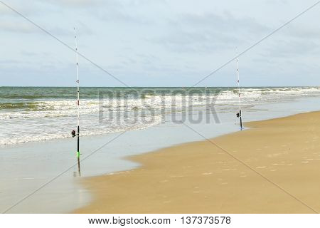 Two surf fishing lines have been set up & are being monitored from afar.