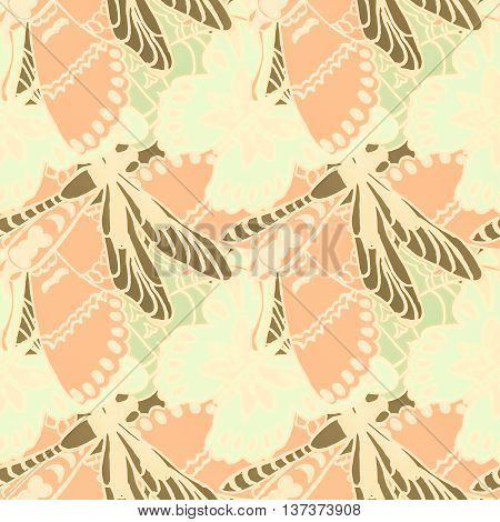 Seamless pattern with butterflies. Colorful background for spring and summer. Bright stylish print for textile or web usage.