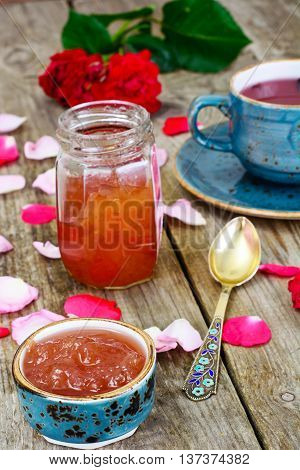 Jam Made of Rose Petals on the Old Wooden Boatds. National Bulgarian Cuisine.
