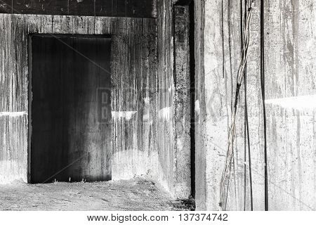 doors in abandoned building creepy background concept