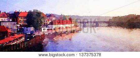 Nice painting Of the charles Bridge in prague