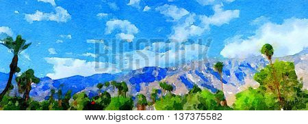 Beautiful Original painting Of the Mountains around palm Springs,California