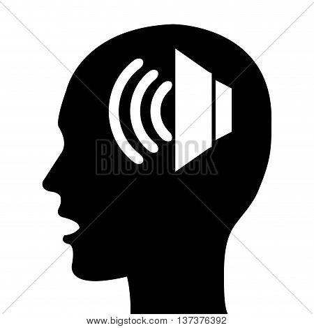 Sound icon in human head silhouette, black and white colors vector illustration.