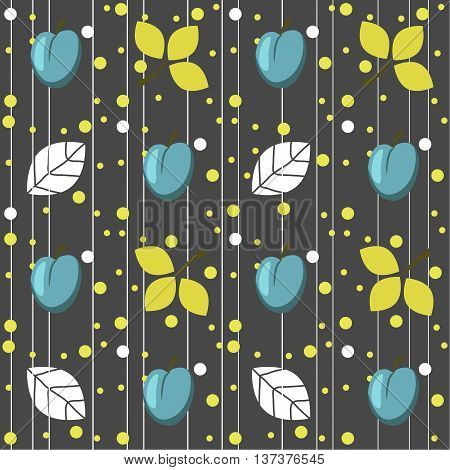 Plums seamless pattern on the grey background. Seamless pattern can be used for  pattern fills, web page background,surface textures.
