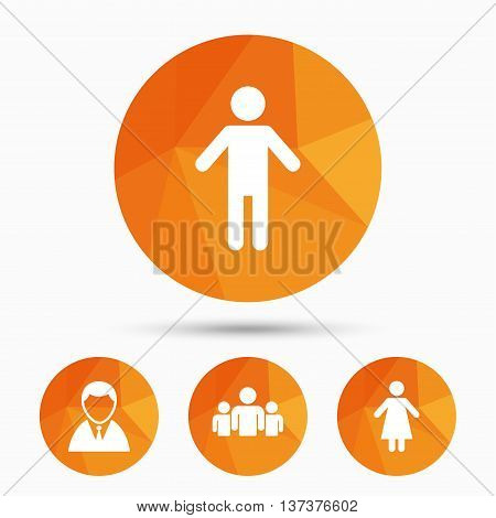 Businessman person icon. Group of people symbol. Man and Woman signs. Triangular low poly buttons with shadow. Vector