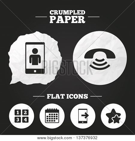 Crumpled paper speech bubble. Phone icons. Smartphone video call sign. Call center support symbol. Cellphone keyboard symbol. Paper button. Vector