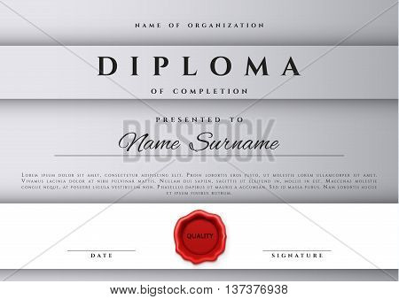 Template certificate design in silver color. Award certificate in a flat style. Diploma frame awarding, with red sealing wax. Border background certificate. Premium certificate template