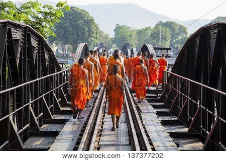 Go on a trip with the monks Bridge on the river kwai Kanchanaburi province Thailand
