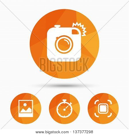 Hipster retro photo camera icon. Autofocus zone symbol. Stopwatch timer sign. Landscape photo frame. Triangular low poly buttons with shadow. Vector