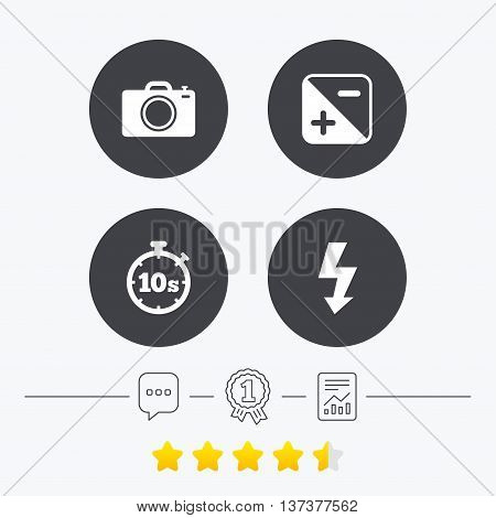 Photo camera icon. Flash light and exposure symbols. Stopwatch timer 10 seconds sign. Chat, award medal and report linear icons. Star vote ranking. Vector