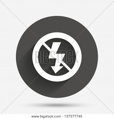 No Photo flash sign icon. Lightning symbol. Circle flat button with shadow. Vector