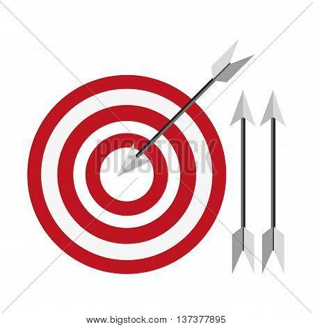 simple flat design bullseye with arrows icon vector illustration