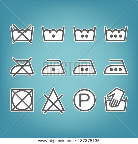 Instruction laundry. Dry cleaning and care. Flat icons. Vector illustration