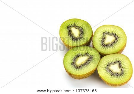 Close Up Kiwi Fruits And Slice Kiwi Fruits Isolated On White Background, Copy Space