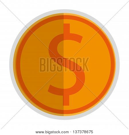 simple flat design coin with dollar sign icon vector illustration
