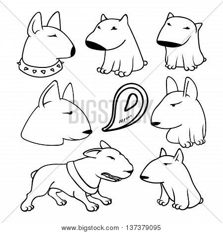 Dogs characters pitbull. Funny animals cartoon. Doodle dog. Sticker dog pitbull. Funny character dogs. Set dog isolated pitbull.