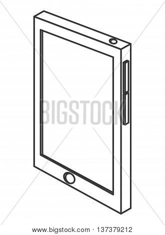 simple line design cellphone with touchscreen icon vector illustration