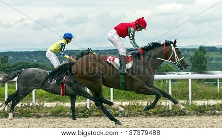 Horse race for the traditional prize Oaks in Pyatigorsk,the largest in Russia.