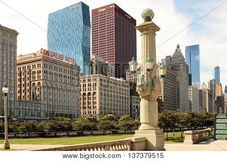 CHICAGO, ILLINOIS - AUGUST 22, 2015: Michigan Avenue Skyline. Seen from Grant Park featuring some of Chicago's iconic architecture.