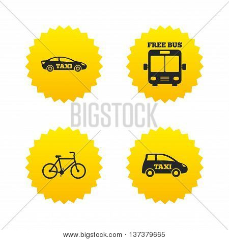 Public transport icons. Free bus, bicycle and taxi signs. Car transport symbol. Yellow stars labels with flat icons. Vector