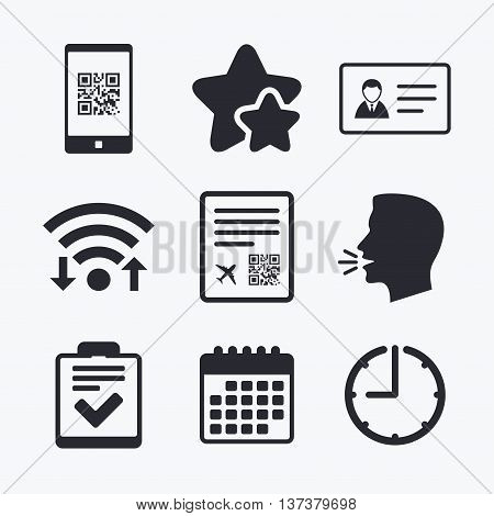 QR scan code in smartphone icon. Boarding pass flight sign. ID card badge symbol. Check or tick sign. Wifi internet, favorite stars, calendar and clock. Talking head. Vector