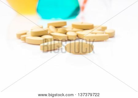 Alternative health care by test in laboratory to make medicine vitamin for beauty on white background.